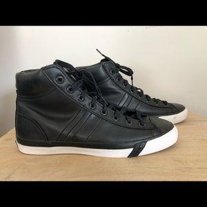 Black Leather Pro-Keds, 10M